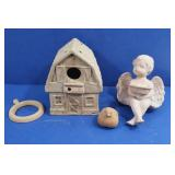 Terracotta Cottage Birdhouse, Angel, Bird &more