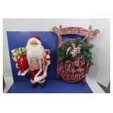 Christmas Lot-Santa, Wooden Sled