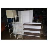 3 Metal Shelving Units(1 lights up-needs cord)