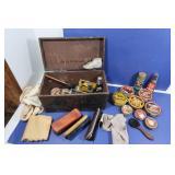 Vintage Wood Shoe Box w/Polish Boxes&Access.