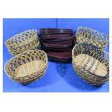 29 Plastic Roll Baskets(17 Wicker, 12 Drk Brown)