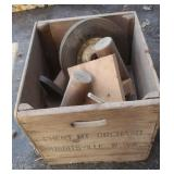 "Vintage Wooden Crate w/Contents incl 2-9 1/2""Wheel"