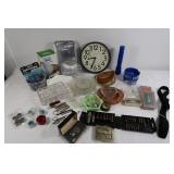 Misc Lot-Wall Clock, Foil Pans,Ash Trays&more