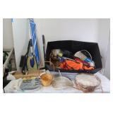 Misc Lot-Wicker Basket, Zipties,Safety Vests, Snow