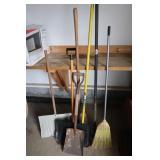 Garden Tool Lot-Digging Bar,Metal Rake, Corn Broom