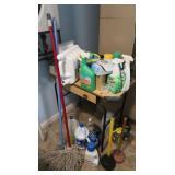 Table w/Laundry Detergents,LaundryBag, Mop,Bleach&