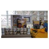 Steelers Beer Cans/Posters/Book, Pirates Blanket/