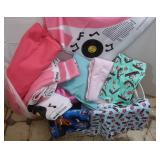 Bin of Assorted Fabrics (Coke, Poodle Skirt,