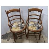 "2 Wood Chairs with Cloth Seat (32"" tall)"