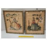 Pair of retro pretty lady fashion prints