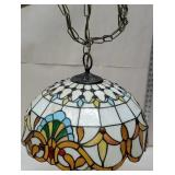 Stained hanging light with bullseyes
