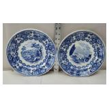 2 blue and white early plates
