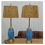 Retro Pair of blue lamps