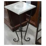 Iron base marble top stand