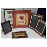 Box of picture frames and heavy plaque