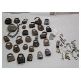 Box of padlocks and keys including D&H railroad
