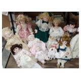Box of porcelain dolls