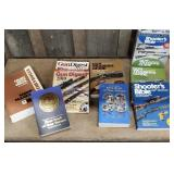 Box of gun related books and light duty Chevy