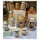 8 beer steins with original boxes