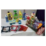 Box of cleaning supplies, pot holders, etc
