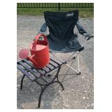 Folding chair, watering can, end stand