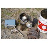Group of car parts, lights, Motorola radio, fuel