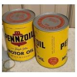 22 pennzoil oil cans full with box