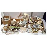 3 boxes of seashells, driftwood, and rocks