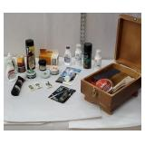 Wooden shoe shine box with accessories and razor