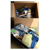 Box of paint supplies