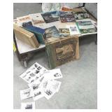 Box of miscellaneous books includes artist cards