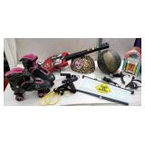 box miscellaneous toys including rollerblades,