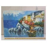 signed Oil painting on canvas - city on the water