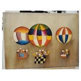 Signed oil on canvas - hot air balloons