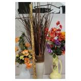 3 vases of artificial flowers - the white vase is