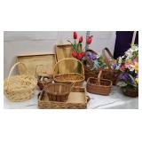 Group of wicker baskets, wooden trays, etc