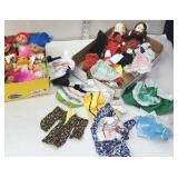 2 boxes of trolls, dolls, & small doll clothing