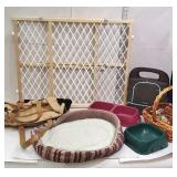 Group of pet related items including gate, bad,