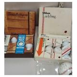 3 boxes of golf balls and autographed baseball