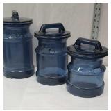 3 piece Blue Glass canister set