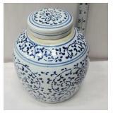 Large blue and white ginger jar