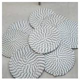 Set of 8 blue braided rug seat pads