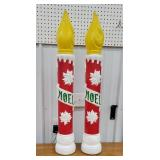 2 red/white Noel candle blow molds