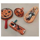 4 tin Halloween noise makers
