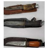 3 knives with sheaths kinfolks, Western