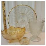 Box lot glassware including Iris and herringbone