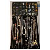 Group of earrings and necklaces