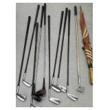 Group of golf clubs including Sam Snead