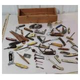 Wooden box full of pocket knives including case,