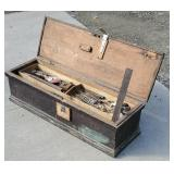 Small Early tool chest with contents